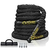 POWER GUIDANCE Battle Rope, 1.5' Width Poly Dacron 30/40/50ft Length Exercise equipment for home gym & outdoor workout, Battle Rope Anchor Included (1.5'' 40FT Length)