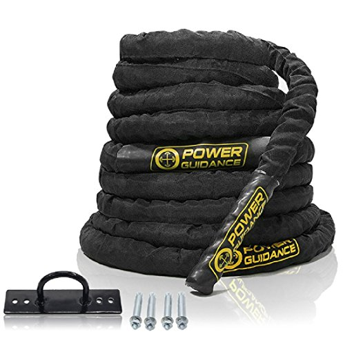 """POWER GUIDANCE Battle Rope, 1.5"""" Width Poly Dacron 30/40/50ft Length Exercise equipment for home gym & outdoor workout, Battle Rope Anchor Included (1.5'' * 50FT Length)"""