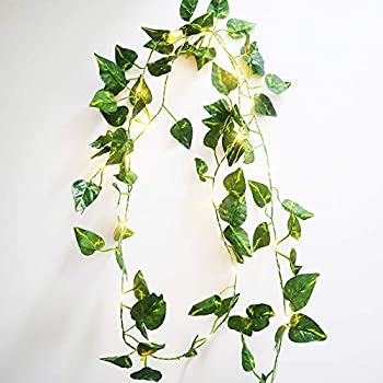 5M Leaves Ivy Leaf Garland 50LED Fairy String Lights Home Wedding Party Decor
