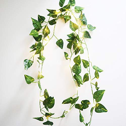 FLCSIed Grüne Blatt-Girlande, Lichterkette, 2 m, 20 LEDs, flexibles Kupfer, perfekt für Innenräume, Schlafzimmer, Hochzeit, Party-Dekorationen (warmweiß)