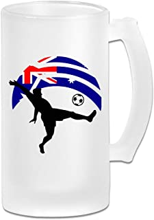 Soccer Player Kicking Ball Australia Flag Frosted Glass Stein Beer Mug - Personalized Custom Pub Mug - 16 Oz Beverage Mug - Gift For Your Favorite Beer Drinker