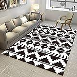 Alfombra moderna para sala de estar, suave al tacto, tamaño grande, alfombra de dormitorio, geometría trapezoidal negra y blanca, 160 x 280 cm