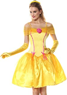 Adult Women Yellow Bell Princess Fancy Dress Princesses Cosplay Hen Party Halloween Fantasia Costume