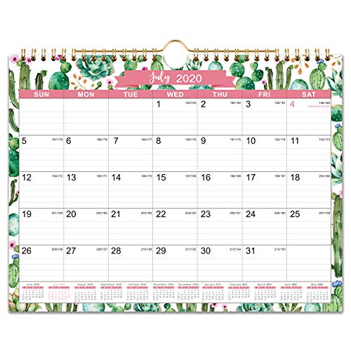 """2020-2021 Calendar - 18 Monthly Wall Calendar, 11"""" x 8.5"""", Jul. 2020 - Dec. 2021, Twin-Wire Binding, Ruled Blocks with Julian Dates, Perfect for Planning and Organizing for Home or Office"""