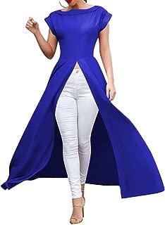 Women Short Sleeve High Split Front Crew Neck Dress Tops Party Nigh Clubwear