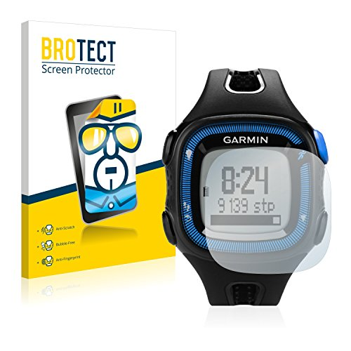 BROTECT Protector Pantalla Compatible con Garmin Forerunner 15 (Big Edition) Black/Blue Protector Transparente (2 Unidades) Anti-Huellas