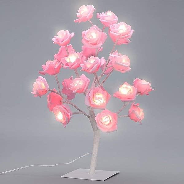 SUPOW Table Lamp Adjustable Rose Flower Desk Lamp Pink Tree Light For Wedding Living Room Bedroom Party Home Decor LED Lights Pink