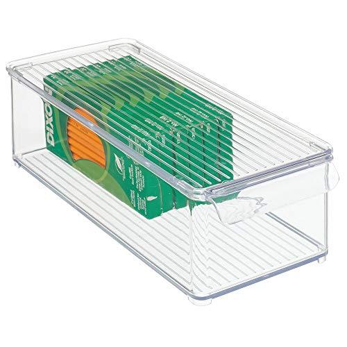 mDesign Caja organizadora con asa y tapa abatible – Pequeño organizador de escritorio de plástico para material de oficina como bolis o clips – Caja apilable rectangular para despacho – transp