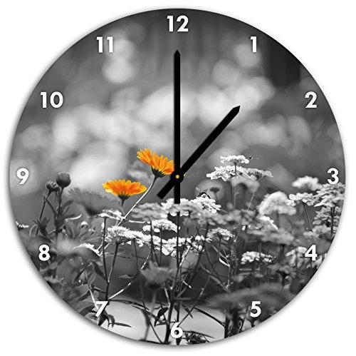 Belles fleurs de jardin, fleur pré noir / blanc, diamètre 48cm horloge murale avec le noir a les mains et le visage, objets décoratifs, Designuhr, aluminium composite très agréable pour salon, bureau