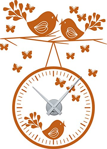 GRAZDesign muurtattoo klok met uurwerk zingende vogels - wandklok XXL sticker romantisch motief / 800639 Uhrwerk silber 083, hazelnootbruin