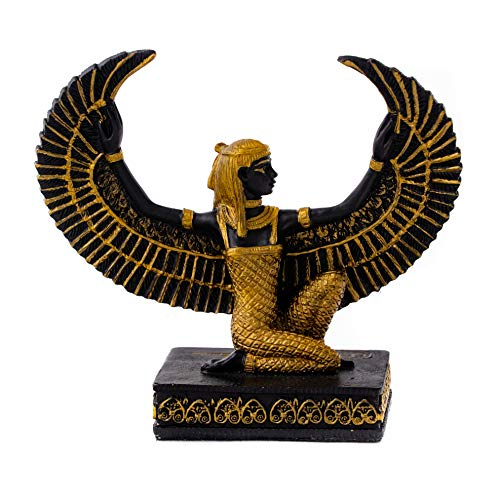 Top Collection Mini Kneeling Isis Statue - Decorative Hand Painted Egyptian Goddess of Life and Magic Sculpture with Colored Accents - Collectible Ancient Egypt Figurine (Mini, Black & Gold)