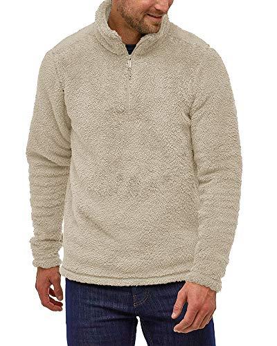 Erneut Herren Teddy Fleece Pullover Plüsch Stehkragen Hoodie Flauschig Sweater Fuzzy Oberteile mit Ausschnitt Reißverschluss