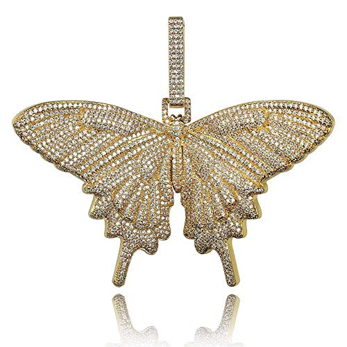 Fully Iced out Lab Diamond 3D Butterfly Pendant Necklace for Men and Women Hip Hop Birthday Jewelry Gifts (Gold)