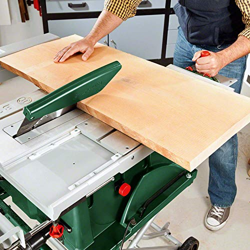 Bosch DIY Tischkreissäge PTS 10 T, Untergestell, Spaltkeil, Tischverlängerung, Winkelanschlag, Absaugschlauch, Karton (1400 W, Kreissägeblatt Nenn-Ø  254 mm, Schnitttiefe bei 90° 75 mm) - 4