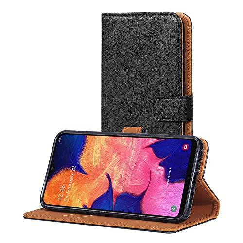 AICEK Hülle Kompatibel mit Samsung Galaxy A10, Lederhülle für Samsung Galaxy A10 Schutzhülle PU Leder Klapphülle mit Kartenfach Ständer Magnet Funktion Schwarz (6,2 Zoll)