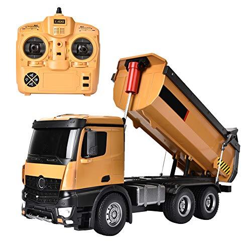 Muldenkipper Ferngesteuert LKW Dumping Truck mit Kippaufbau und LED lichter 4 Radantrieb Spielfahrzeug Baufahrzeuge aus Metall für Kinder Junge Spielzeug Geschenk, Batteriebetrieben mit USB-Kabel