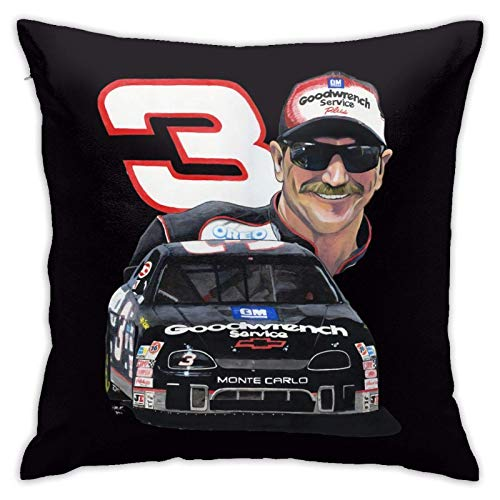 Dale Earnhardt Pillowcase Super Soft Breathable with Zipper Closure Pillow Case Personality Furnishing Pillowcase Cushion Cover for Sofa Home 18x18 Inches Black