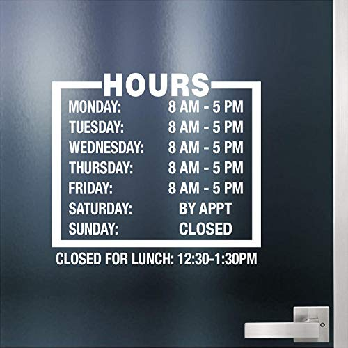 """Custom Business Hours Sign for Glass Door, Windows, Smooth Surfaces. Hours of Operation Sign. Open - Closed Store Hours Sign. Lunch Hours. (12"""" x 11"""") Style # 3 by Jeyfel Decals"""