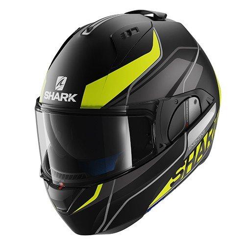 Shark-Evo One Krono Mat KYW-Casco para motocicleta, negro y amarillo, tallaS