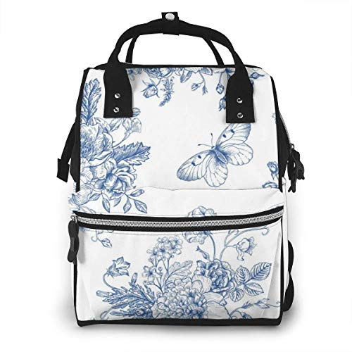 UUwant Sac à Dos à Couches pour Maman Large Capacity Diaper Backpack Travel Manager Baby Care Replacement Bag Nappy Bags Mummy BackpackSeamless Vintage Pattern with Bouquet Vector Image