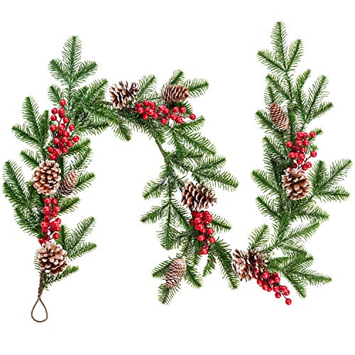 DearHouse 5.1FT Artificial Christmas Pine Garland with Red Berry Branch Pine Cone Winter Greenery Garland for Holiday Season Mantel Fireplace Table Runner Centerpiece D