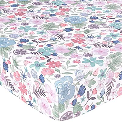 TILLYOU Luxury Microfleece Crib Sheet, Ultra Soft Warm Plush Toddler Bed Sheets, 28'' x 52''x 8'', Cozy Anti-Pilling Minky Sheets for Baby Girls, Blush Floral