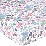TILLYOU Luxury Microfleece Crib Sheet, Ultra Soft Warm Plush Toddler Bed Sheets, 28'' x 52''x 8'', Hypoallergenic Cozy Anti-Pilling Minky Sheets for Baby Girls, Blush Floral