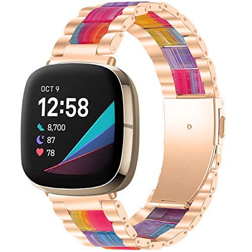 GIMart Compatible con Fitbit Versa 3 Correa / Fit Bit Sense Correa para mujeres y hombres, correa de muñeca de repuesto de acero inoxidable para Fitbit Versa 3 correas oro rosa, plata y negro