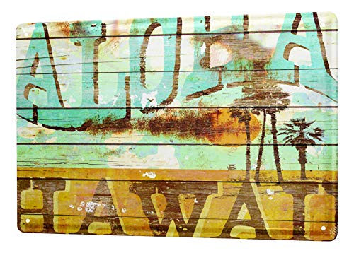 M.A. Allen Retro Cartel de chapa Placa metal tin sign EE.UU. Deco Aloha Surf Hawaii Dream Island 20x30 cm