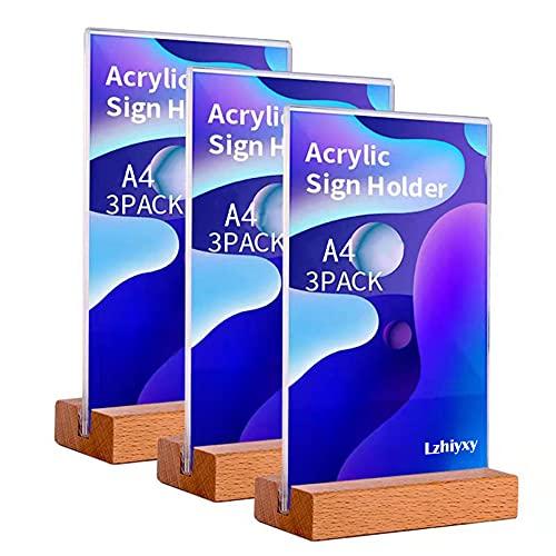Lzhiyxy 3 Stück A4 Tischaufsteller schräg, Werbeaufsteller Glasklar Acryl, Doppelseitig T-Ständer, Menükartenhalter für Speisekarten, Tischkarten, Werbung,Fotorahmen,Werbeaktionen