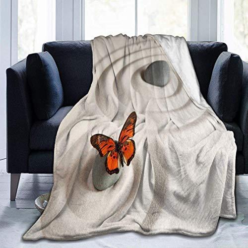 Olie Cam Zen Rock auf dem Sand Schmetterling werfen Flanell Fleece Decke, weiche Flauschige Plüsch Decke für Bett...