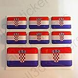 All3DStickers Aufkleber Kroatien Flagge 8 x Flaggen von Kroatien Rechteckig 3D Kfz-Aufkleber Gedomt Fahne