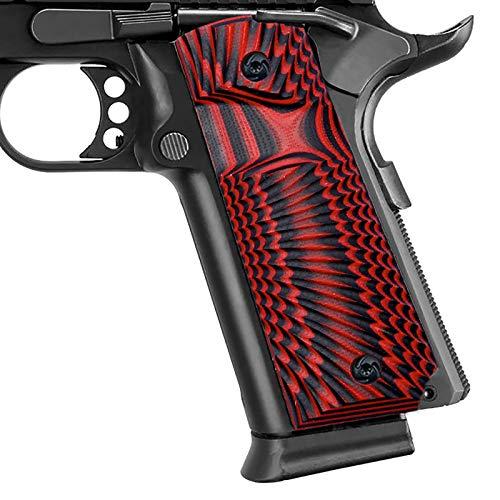 Guuun 1911 Grips G10 Full Size 1911 Grip Ambi Safety Cut Big Scoop Sunburst Texture - Red