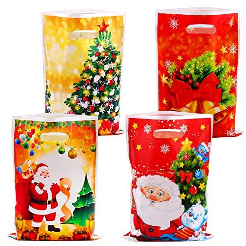 HOWAF Navidad Regalo Bolsas Plastico para Caramelos Dulces Bueno, 30pcs Árbol de Navidad Papa Noel Bolsas con Asas para Niños Adultos Presenta Galletas Chuches Cumpleaños Navidad Artículo Accesorios