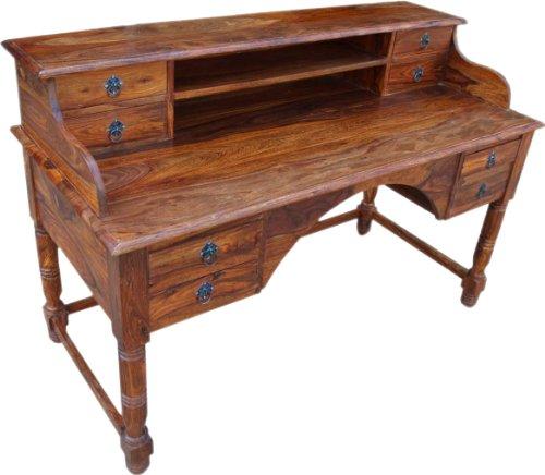 Guru-Shop Kolonialstil-Schreibtisch 150 cm Breit - Modell 6, Braun, Schreibtische & Schreibpulte