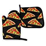 FHTDH Suministros de cocina, guantes de horno y juegos de ollas Tasty Pizza Printed Oven Mitts and Pot Holders,Heat Resistant Waterproof Cooking Gloves for Kitchen Cooking Baking,BBQ,Grilling (2-Piece