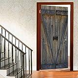 ChitNew8 Wooden Barn Door 3D Door Wall Murals Wallpaper-Door Stickers Decor Door Decals Self-Adhesive Door Mural Poster Vinyl Door Wall Stickers,Rustic Antique Wooden Door
