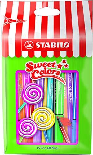 STABILO Pen 68 mini - Rotulador premium mini - Edición limitada Sweet Colors - Estuche con 15 colores