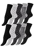 Vincent Creation 10 Paar Süsse Damensocken und Mädchensocken Dot´s and Stripes, Baumwolle - gepunktet & geringelt, Mehrfarbig, 39/42
