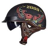 BGMKE Motorrad-Halbhelm Helme mit offenem Gesicht Retro-Stil Cruiser Chopper Bikerhelm, ABS-Kunststoff-Helm mit halbem Gesicht für Erwachsene DOT-Zulassung (55-62CM)