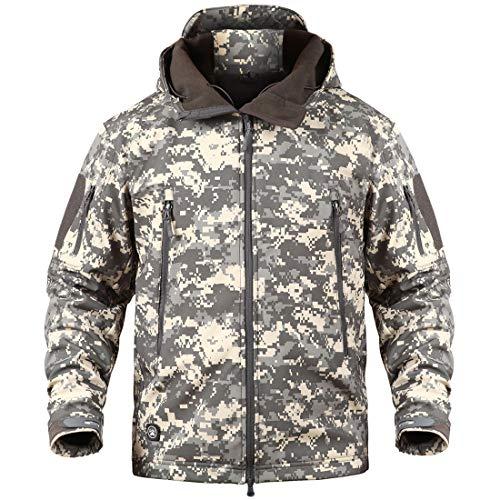 Donhobo Militärjacke für Herren, atmungsaktiv, wasserdicht, Softshell-Fleece-Jacke, Camouflage, Jagdjacke mit Kapuze Gr. M, Acu