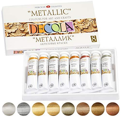 Decola Lot de 8 Tubes de Peinture Acrylique Métallisé 20 ml de Neva Palette (Nevskaya Palitra)