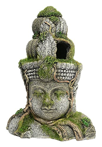 Rosewood Polyresin Moss Covered Stone Head Aquarium Ornament, Small