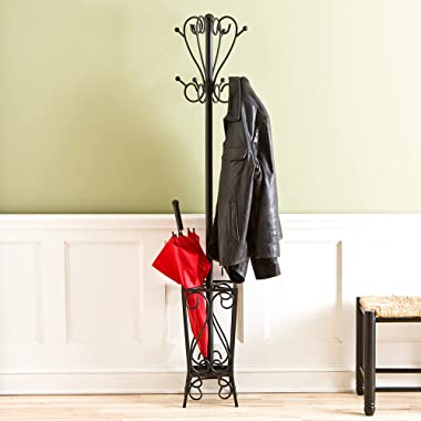 """Southern Enterprises Metal Scrolled Coat Rack and Umbrella Stand 69""""Tall in Black Finish"""