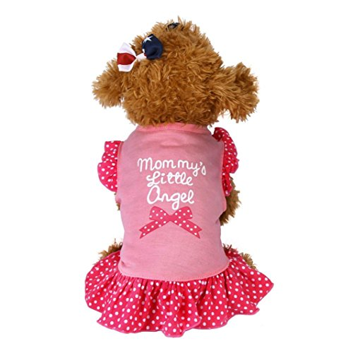 NEARTIME Puppy Clothes, Small Dog Cat Pet Dress Fly Sleeve Dress for Pet (S, Pink)