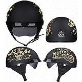Casco Moto Abierto, Medio Casco De Motocicleta Retro,Dot Homologado Retro Harley Half Moto Cascos Helmet De La Bici del Casco del Viaje del Estilo Alemán Crucero Bicicleta