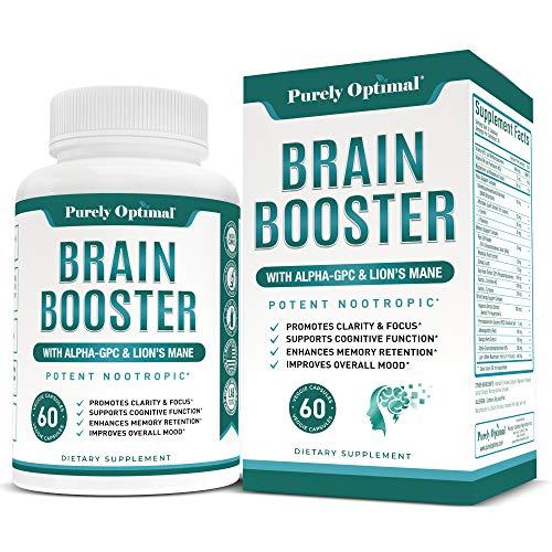 Premium Brain Supplement - Nootropic Brain Booster for Focus, Clarity, Improved Memory, Concentration & Better Mood - Brain Pills w/Alpha-GPC, Lion's Mane, Ginkgo Biloba & Bacopa Monnieri - 60 caps