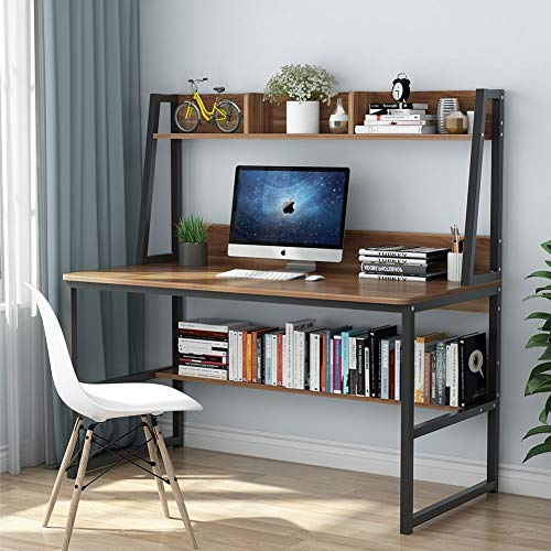 Tribesigns Computer Desk with Hutch, 47 Inches Home Office Desk with Space Saving Design with Bookshelf for Small Spaces (Dark Walnut)