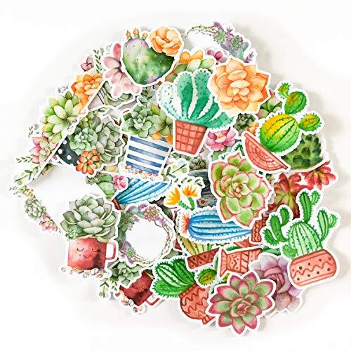 Navy Peony Aquarell Kaktus und Blumen zusammengebundene Sticker Set   kleine wasserdichte Sticker für Laptop, Skateboards und Handyhüllen   süße Sticker für Scrapbooking, Tagebuch, Planer und Zeitung