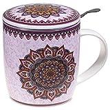 Satya Confezione Regalo Mug Mandala Viola con Tazza 400 CC, Coperchio e infusore Inox - Porcellana Bone China
